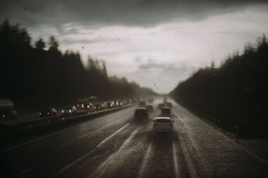 Cars on Munich highway when pouring rain